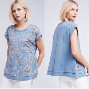 ANTHROPOLOGIE Hildie Swing Sweatshirt Blue Floral